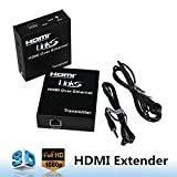 LinkS 396ft (120m) HDMI Extender over Ethernet TCP/IP /CAT5e/CAT6 Ethernet Lan Switch Support Full HD 1080P,One-to-Many mode --Up to 396ft (120m)Extension,Black