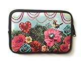 Travel Protective Carrying Case Sleeve pouch bag will fit Amazon Kindle Voyage E-reader 6-7 inch Tablets Neoprene Case teen girl women (Bird)