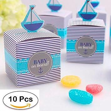 DISOK - Lote 10 Cajitas Bebé A Bordo - Cajitas, Cajas para Bautizos, Baby Shower, Bebes Niños, Niño, Azul: Amazon.es: Hogar