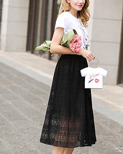 Jupe Robe Taille Lace Jupes Longue lastique Couleur lgant Lache Grande A Pure Noir Plage Line Nouvelle t Taille Bohemian Mi Femme x8wTSF