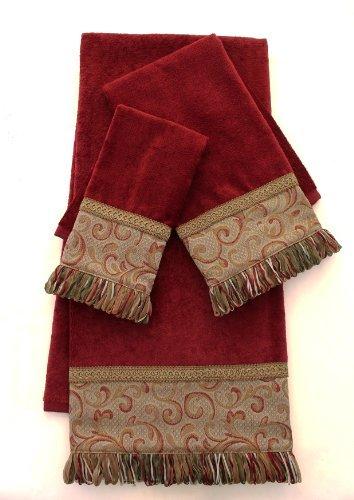 Sherry Kline Swirl Paisley Red 3-piece Embellished Towel Set (Embellished Towel Sets)