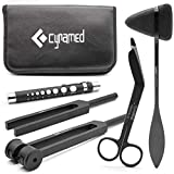 Cynamed Medical Student Exam Kit - 5-Piece Assessment and Diagnostic Set - Reflex Hammer, C128 and C512 Tuning Forks, Pupil Gauge, Bandage Scissors - Perfect for Medical Students!