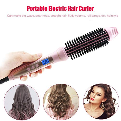 KLI 2 in 1 Hair Curling Iron Brush HOT Electric Hair Ceramic Brush Air Ionic Professional Hair Curler Comb Dual Voltage Brush Travel Styling Tools Curling Wand Tongs,Pink ()