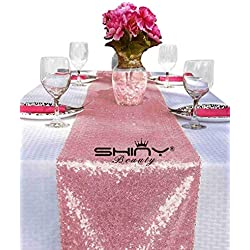 ShinyBeauty Sequin Table Runner Pink Gold Table Cover Party Decorations Rose Pink Pack of 3 12x108-Inch Table Runners