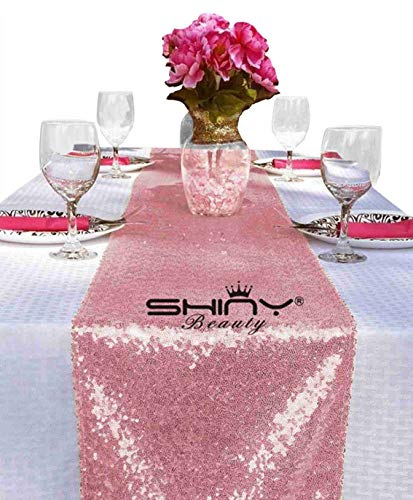 ShinyBeauty 12x108-Inch Sequin Table Runner Pink Gold 1 Piece
