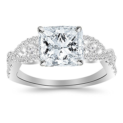 1.22 CTW Designer Twisting Eternity Channel Set Four Prong Diamond Engagement Ring w/0.62 Ct Princess Cut F Color SI2 Clarity Center
