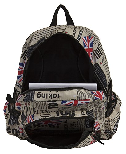 Souvenir Bag News Print Backpack Big Shop beige Waterproof style2 UK Great Paper Handbag Britain vYSq0FH