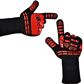 SEAAN Kitchen Cooking Oven Mitts- 932°F Extreme Heat Proof BBQ Grilling Gloves - Outdoor and Indoor Heat Resistant Kitchen Gloves-Five Fingers Oven Gloves Set-1 Pair Suitable for Men and Women (Long)