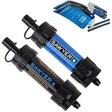 Sawyer Products SP2105 Mini sistema de filtración de agua, 2 unidades, azul y negro