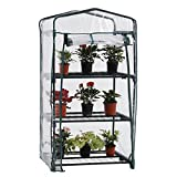 PHI VILLA Outdoor Portable Garden 3 Tier Mini Greenhouse with Clean Cover, 27.2''x19.3''x50.8''