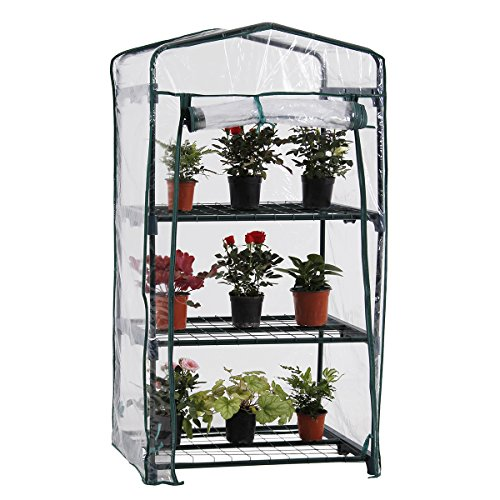 PHI VILLA Outdoor Portable Garden 3 Tier Mini Greenhouse with Clean Cover, 27.2