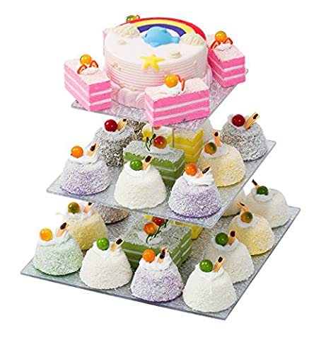 SinoAcrylic 3 Tier Square Cupcake Stand With Unique Silver Plate - Dessert Display Holders - Fantastic Stacked Party Cupcake Tree - Tiered Cake Stand - Cupcake Tower For Family - Crystal Platinum Cake Stand