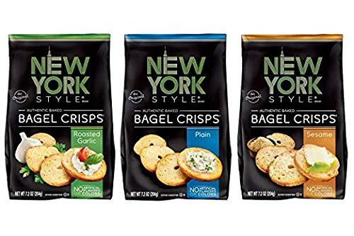 New York Style Bagel Crisps Pack of 3 (Roasted Garlic + Plain + Sesame)