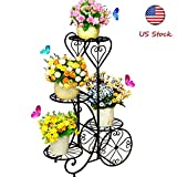 Metal Stable Plant Stand 4 Tier Decorative Planter Holder Flower Pots Stander European-Style Garden Tiered Plant Display Holder for Outdoor Indoor Home Patio Lawn Garden Balcony Holder
