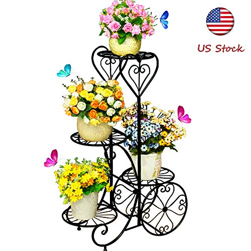 Metal Stable Plant Stand 4 Tier Decorative Planter Holder Flower Pots Stander European-Style Garden Tiered Plant Display Holder for Outdoor Indoor Home Patio Lawn Garden Balcony Holder by hebensi