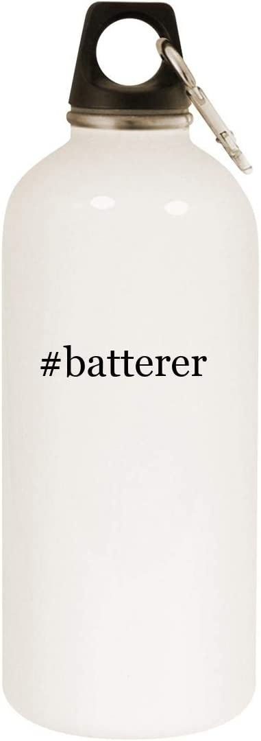 #Batterer - 20Oz Hashtag Stainless Steel White Water Bottle mit Carabiner, White