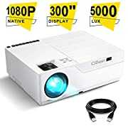 #LightningDeal Projector, CiBest Native 1080p LED Video Projector 5000 Lux, 300 Inch Image Display Ideal for PPT Business Presentations Home Theater, Compatible with HDMI,VGA,USB,Fire TV Stick,Laptop,PS4,Xbox