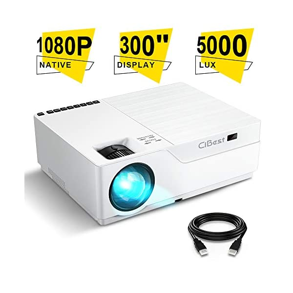 Projector, CiBest Native 1080p LED Video Projector 5000 Lux, 300 Inch Image Display...