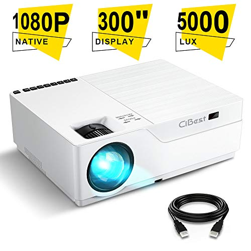 Great Deal! Projector, CiBest Native 1080p LED Video Projector 5000 Lux, 300 Inch Image Display Idea...