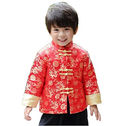 Hooyi Winter Boy Quilted Jacket Children Dragon Phoenix Qipao Clothes Thick Coat (Red, 4)