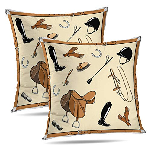 (Tyfuty Set of 2 18 x 18 inch Throw Pillow Covers Horse Tack Gear Leather Belt Frame Helmet Equine Cartoon with Equestrian Sport Tool Pillowcases Cushion Use for Living Room Bed Sofa)