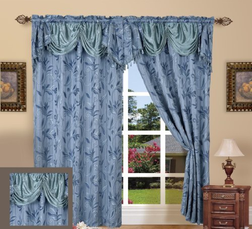 """UPC 030915018487, Elegance Linen Beautiful Design Jacquard Curtain Panels 55"""" X 84"""" +18 with Attached Valance, Blue"""