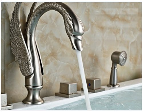 Gowe Brushed Nickele Swan Spout Bathroom Tub Faucet W/Hand