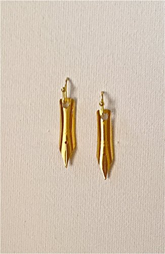 Pen-Nib Earrings - Brass