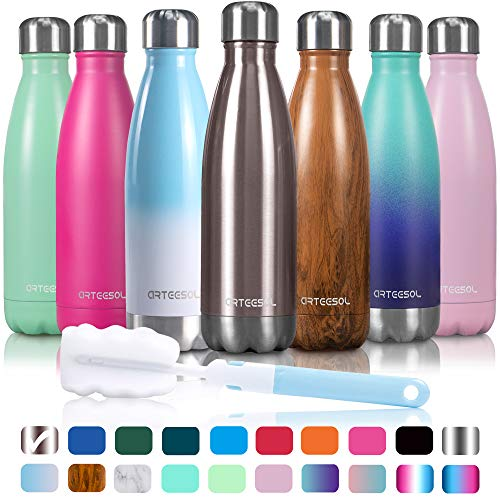 arteesol Water Bottle | Leakproof Cola Shape Bottle Keep Hot&Cold | Double Wall Vacuum 18/8 Stainless Steel Bottle | Narrow Mouth Personalized Texture-for Outdoor Activities (Rose Gold, 17oz/ ()