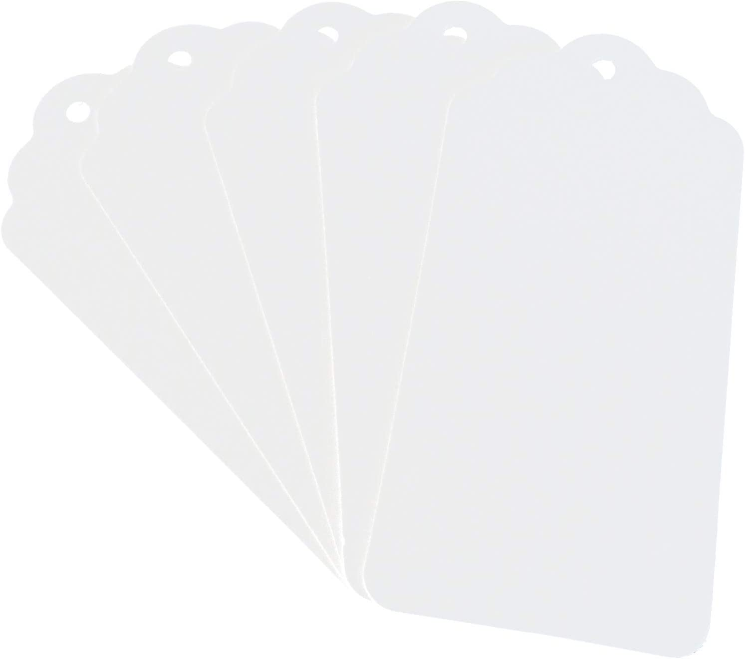 """CleverDelights White Kraft Gift Tags - 3.75"""" x 1.75"""" - 50 Pack - Thick Heavy Duty"""