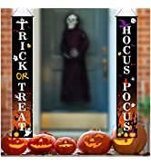 Coavas Halloween hanging banners Outdoor, Trick or Treat Decorations Halloween Porch Decor Banner...