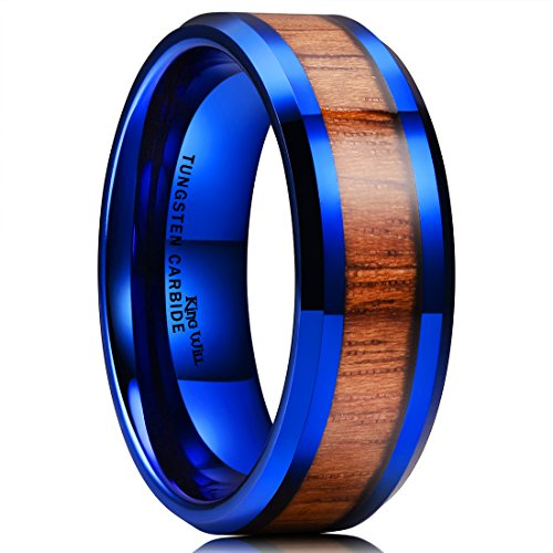 (King Will Nature 8mm Mens Blue Tungsten Carbide Ring Wood Inlay Beveled Edge Wedding Band Ring 13)