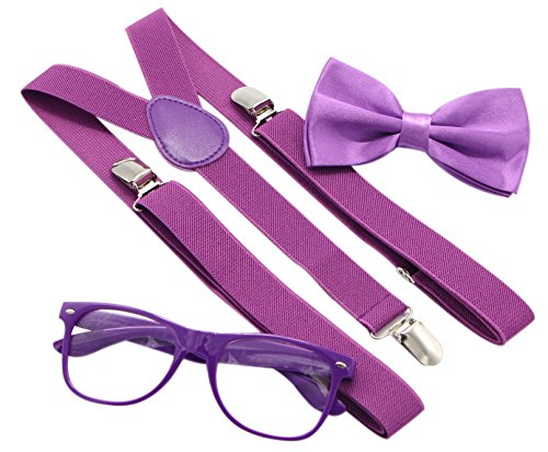 JAIFEI Hipster Nerd Outfit | Whimsical Sunglasses + Adjustable Suspenders + Bowtie Set | For Costume Parties & Hip Events (Purple)]()