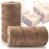 Natural Jute Twine 2 Pack - Best Crafting String for Craft Projects, Wrapping, Packing and More - 656 Feet of Thick Jute Rope to Use Around The House and Garden.