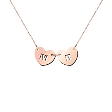 10K Gold You Me Personalized Initials Heart Necklace by JEWLR