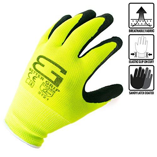 - Better Grip Ultra-Thin BGSL1 Nylon Sandy Latex Coated Work Gloves, 4 Pairs/Pack (Large, Lime)
