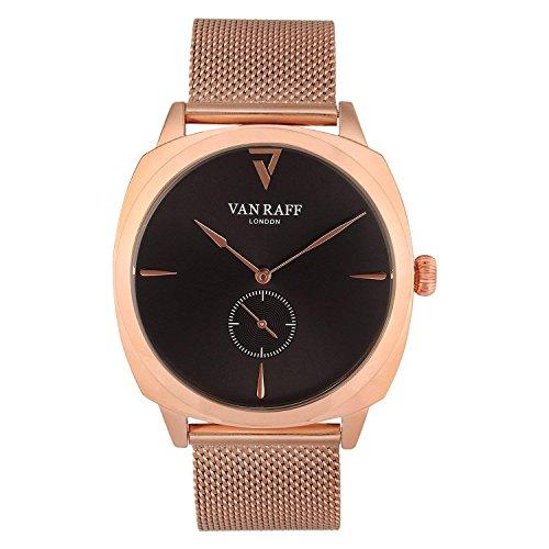Van Raff Rose Gold mesh Strap, Black dial Analog Watch for Men- VF1968