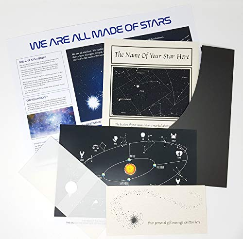 planetsforsale Name a Star Gift Set with Heart Shaped Swarovski Element in a Luxury Presentation Folder - Personalised with The Name of Your Choice (Name Set Star Gift A)