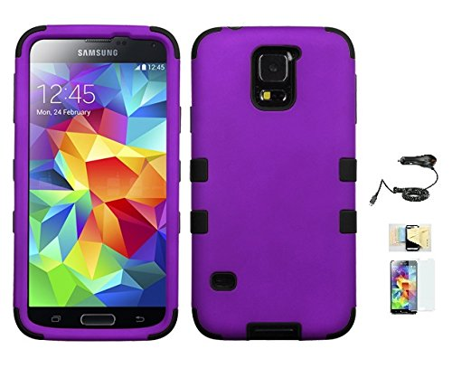 Price comparison product image Galaxy S5 Case ,(Purple+Black), Hybrid Hard Soft Durable Bumper Armor Back Cover for Samsung Galaxy S5, Included Momiji® (Screen Protector, Cleaning Cloth, Car Charger), Samsung Galaxy S5 Case