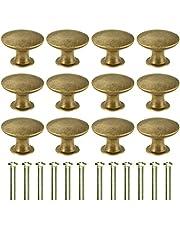 Kyrio 12 STKS Laden Knoppen Meubelknoppen Lade Handvatten Vintage Antiek Messing Diameter 30 mm Knop voor Kabinet Lade Keuken