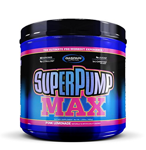Gaspari Nutrition Super Pump Max, Pre Workout 30 Servings, Non-Habit-Forming, Sustained Energy & Nitric Oxide Booster Supports Muscle Growth, Recovery & Replenishes Electrolytes, Pink Lemonade New! by GaspariNutrition