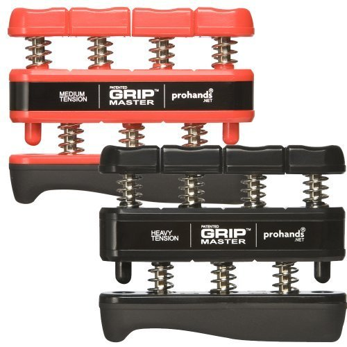 GRIP MASTER Gripmaster Hand and Finger Exerciser Combo Pack -Red and Black