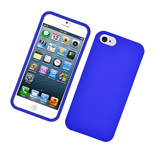 - Apple iPhone SE, iPhone 5, iPhone 5S - Rubberized Protector Hard Case + PET Film Screen Protector - PSR Blue