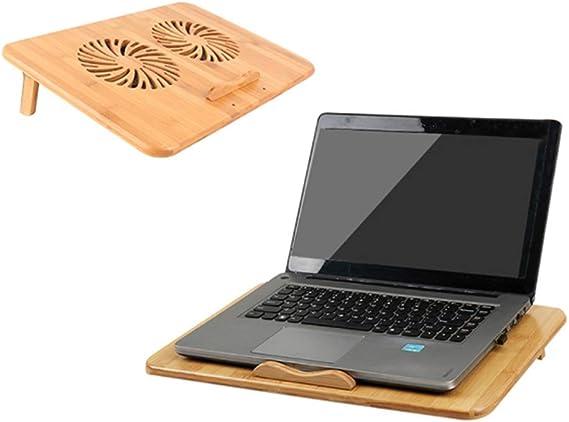 Xcmenl Base De Refrigeración para Portátiles Hecho De Bambu 2 Ventiladores Grandes 1300 RPM,2 Puertos USB: Amazon.es: Deportes y aire libre