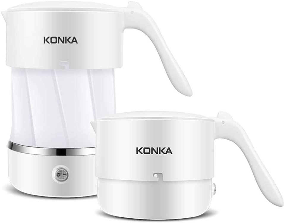 KONKA Portable Collapsible Electric Kettle Folding Kettle Globally Dual Voltage White