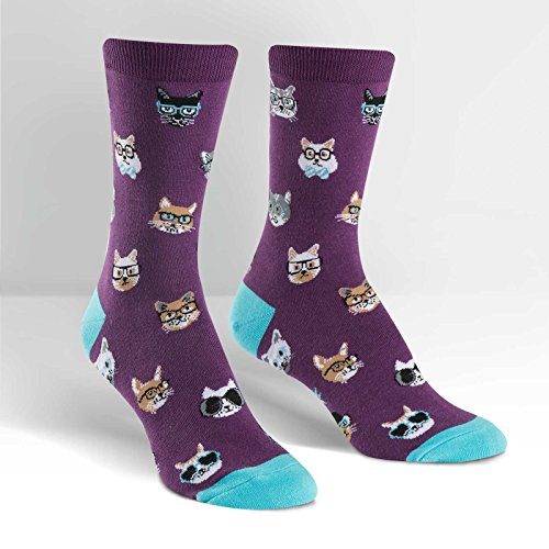 (Sock It To Me, Smarty Cat, Women's Crew Socks, Nerdy Cat Socks)