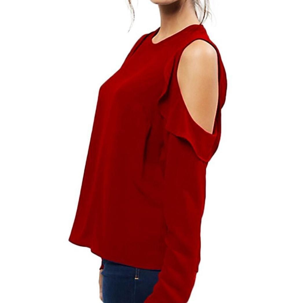 VESNIBA Women Long Sleeve Tops Strapless Chiffon Solid Blouse Shirt at Amazon Womens Clothing store: