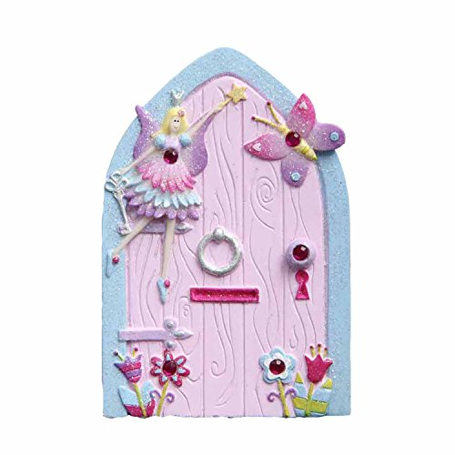 Hand Painted Doors (Magical Fairy Door for Kids (Glittery Hand Painted Skirting Board / Wall / Door Ornament) Lucy Locket)