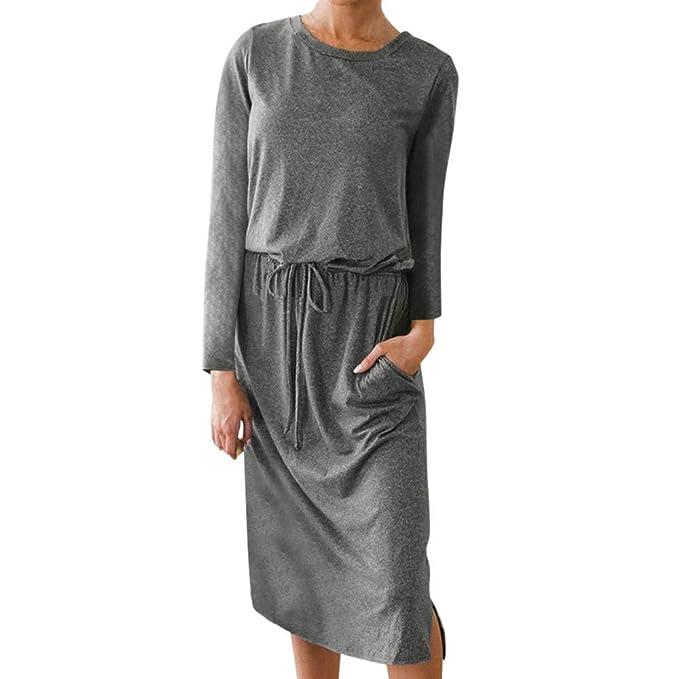 d14debe24b42 Jaminy Damen Kleider Scoop Neck Elastic Taille Tasche Casual Midi Vintage Kleid  Frauen Langarm Tasche Abendkleider