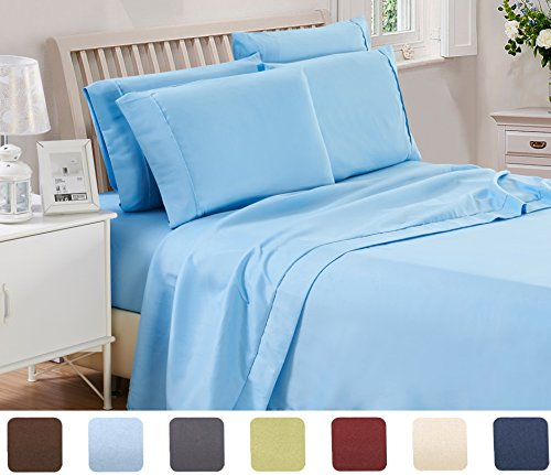 3 Piece Lux Decor Bed Sheets Set ,Hotel Quality Brushed Microfiber Flat,Fitted Sheet with 1 Pillow Cases, Stain Resistant-Luxurious,Comfortable, Soft & Extremely Durable (Twin , Blue (Hotel Set)